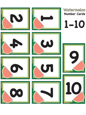 photo relating to Printable Number Cards identified as Watermelon Variety Playing cards 1-10 Gas the Mind